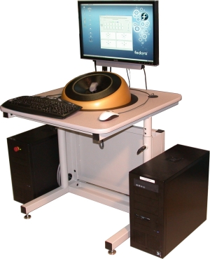Visual-haptic workstation with small table